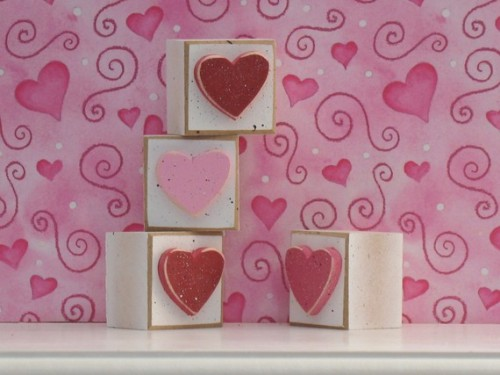 SQUARE BLOCKS with red pink and hot pink HEARTS for by lisabees