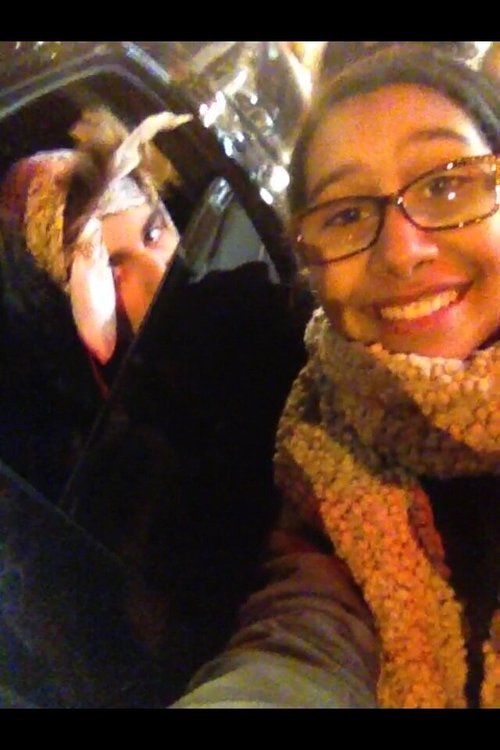 Justin and a fan tonight in New York (Feb 7th)