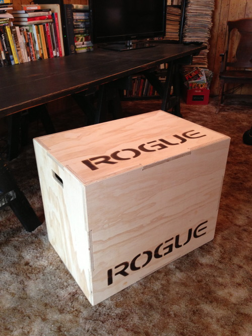 Got a CrossFit Games-used box from Rogue. In my head, @Julie_Foucher jumped on this one, which is why I don't workout with it so much as I do sleep with it. … Shut up. Today's workouts… 4 x 800m run + 4 x 400m + 4 x 200m + 4 x 100m Clean & jerk 1RM 4 x 25 kettlebell swings 300 single unders + 300 seal jacks + 100 air squats 30 negative handstand push-ups 4 x AMRAP weighted push-ups 4 x AMRAP weighted pull-ups You?
