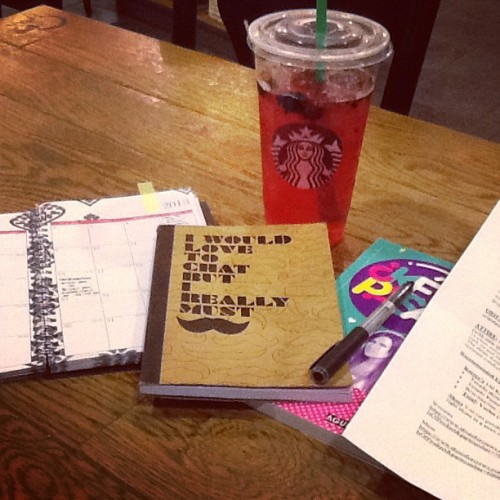 Working at #Starbucks #mustache #veryberryhibiscus #calendar #workdone #refreshing #cold #yummy #nomnomnom      (at Starbucks)