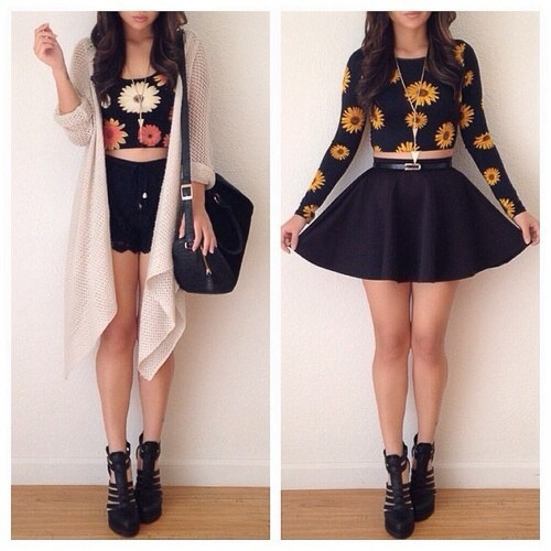 back to school cute outfits sunflower daisies high waisted skirts crop tops cardigans cute pretty girly tomboy edgy