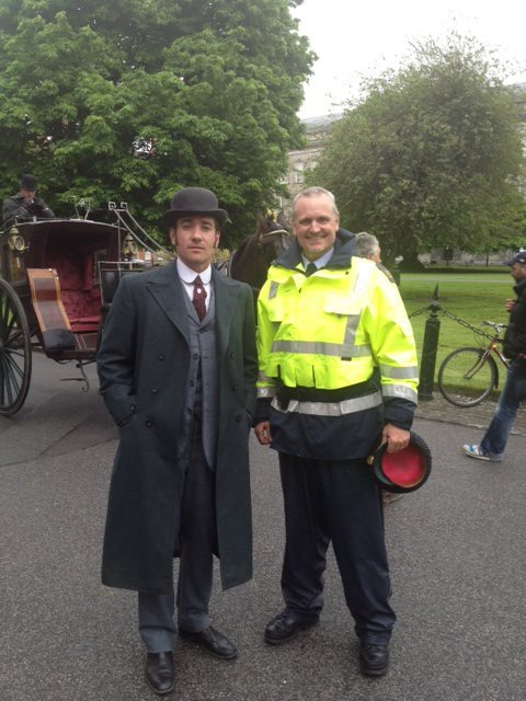 moreofmatthewmacfadyen:  Thanks to Steve Collins who posted this picture with Matthew Macfadyen on the Ripper Street (fanmade) facebook. It was taken when filming in Trinity College Dublin!