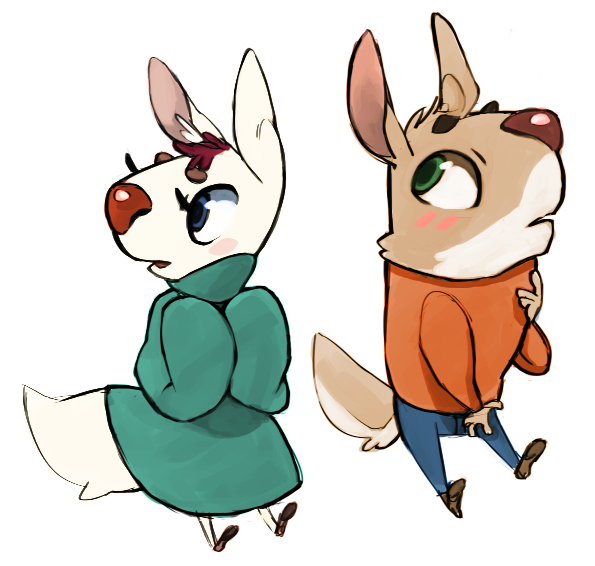 sketchinwaters:  I've been drawing little dogs lately, but I call them Jackals! Cuties!!  They just need names though.  Drawing little Jackals! They're really fun c: