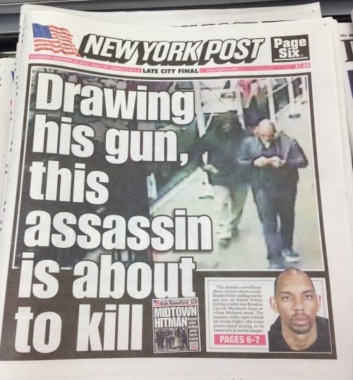 shortformblog:  hypervocal:  Surely this New York Post cover isn't as unapologetically appalling as the NYC subway snuff film that graced the cover eight days ago, and this won't get the same instinctual rebuke that cover did. But what's up at the Post? When did they become Faces of Death? Go back to sex sells — this is ugly. MORE HERE.  The New York Post: You hear about the deaths we were unable to stop, twelve hours after they happen. Seriously, WTF guys?  Just… Wow.