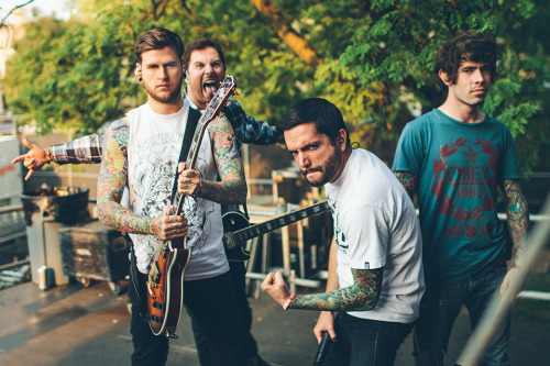 mattvogel:  Neil, Kevin, Jeremy, and Alex of A Day To Remember before their set at Riot Fest. Chicago, IL. twitter // website // facebook // tumblr
