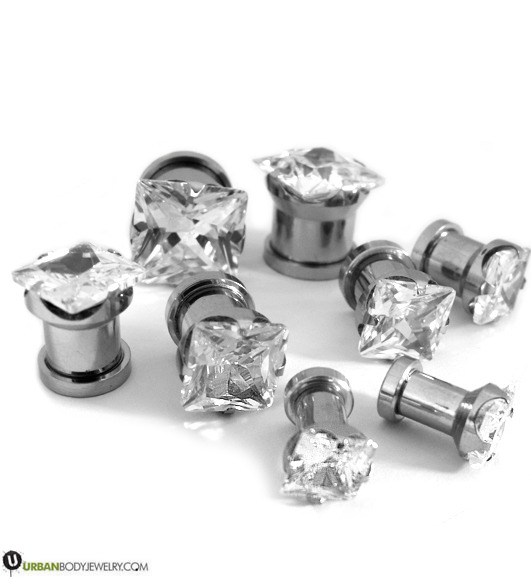 Clear CZ Gem Diamond Stud Plugs 8G - 1/2""