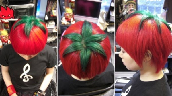 "collegehumor:  Girl Cuts and Dyes Her Hair to Look Like a Tomato You say ""tomato"" I say ""bad hairdo""  Need… ketchup."