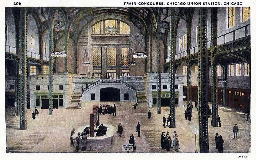 Inside the train concourse of Union Station, Chicago