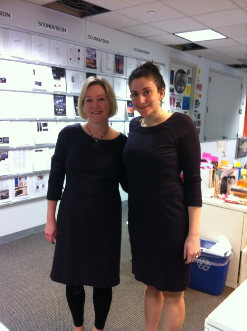 Leonora, our digital intern, and Stephanie, our executive editor, wore the same dress today! Twinsies!