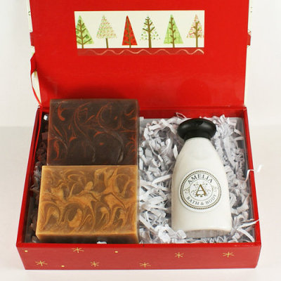 """Gold Lotion & Frankincense and Myrrh Soaps"" Gift Set by AmeliaBathandBody"