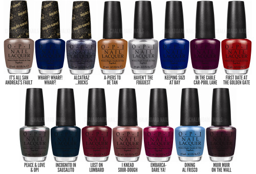 chalkboardnails:  OPI San Francisco Collection for Fall/Winter 2013 San Francisco by OPI brings street chic style with West Coast flair to nails and toes for Fall/Winter 2013. This new collection features a palette ranging from sky and sea-colored hues of blues and gray to reds, burgundies and browns inspired by some of the city's most iconic elements – Chinatown, the Golden Gate bridge and the Embarcadero.  San Francisco by OPI will be available August 7, 2013.  oOooOooOooo
