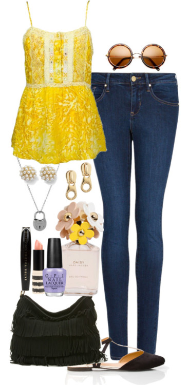 Inspired outfit for One Direction Store Opening  Free People  tank / Mango slim jeans, $53 / Forever 21 flat pointy shoes / Urban Expressions cross body handbag / White House Black Market  jewelry / Marc by Marc Jacobs zipper earrings, $76 / Round sunglasses / L'Oréal Paris brown eye makeup, $15 / Topshop , $15 / Marc Jacobs  fragrance / OPI  nailpolish, $17