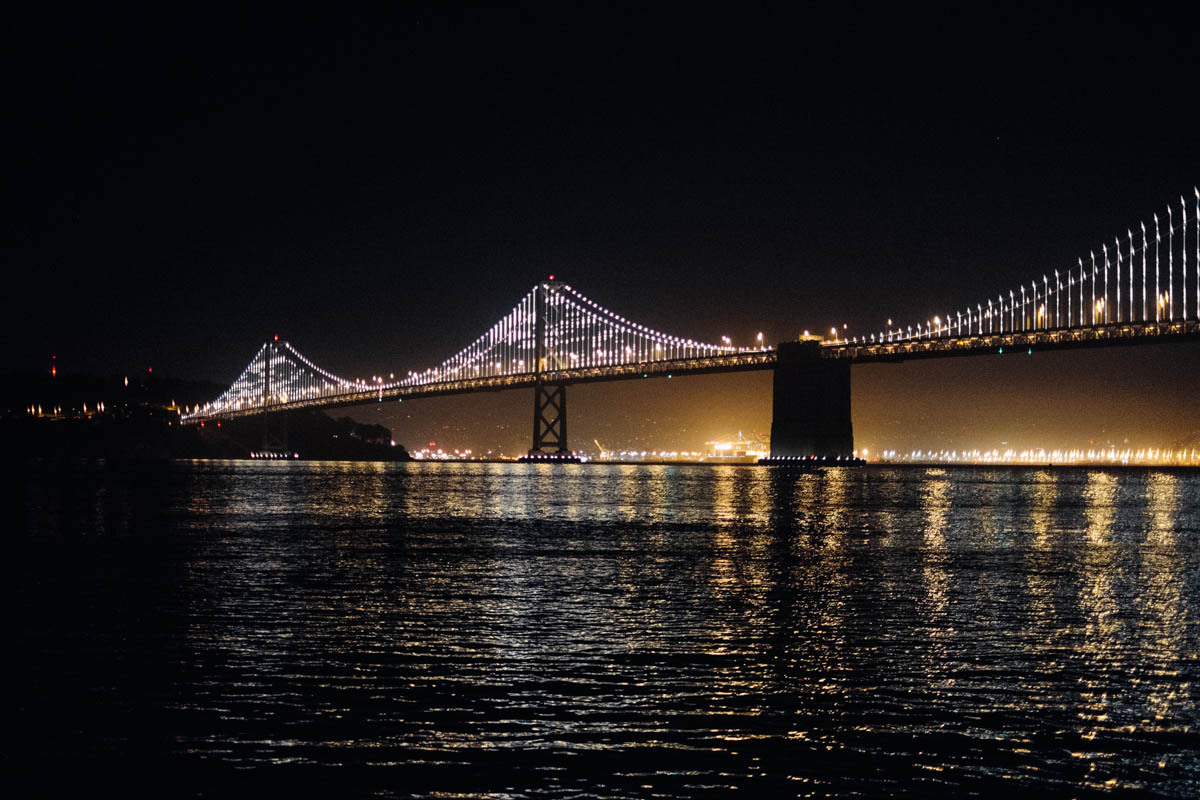 Bay Bridge Lights, San Francisco Leo Villareal's light installation is an amazing public art treat. Artist talk at SFMOMA : http://bit.ly/WEnGsT