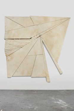 "likeafieldmouse:  Wyatt Kahn - Contender (2012) - Unpainted canvases stretched onto irregularly shaped frames Artist's statement:  ""I am trying to push sculpture to the limits of painting."""