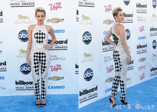 Miley Cyrus rocks a crochet onesie by Balmain! Are you digging her BBMA look?