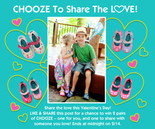 CHOOZE to share the love this Valentine's Day! LIKE & SHARE this post on on our Facebook page for a chance to win 2 pairs of CHOOZE – one for you, and one to share with someone you love! Contest ends at midnight on 2/14. Winners will be announced  on 2/15.  Good luck! [Tumblr friends: You may enter with LIKE AND REBLOG.][Twitter friends: You may enter with FAVORITE & RETWEET.]