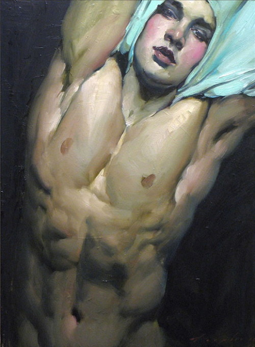 100artistsbook:  Malcolm Liepke, Pulling Off His Shirt, 2013