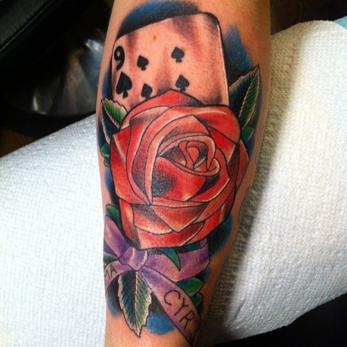 Beautiful #rose and #card tattooed by @dominicpiccirillo #brasscitytattoo #waterbury #connecticut