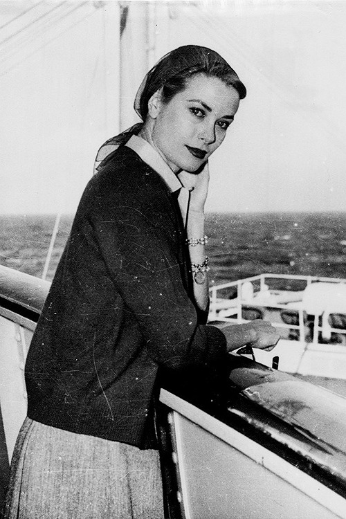 Grace Kelly aboard the SS Constitution, sailing from New York to Monaco in order to marry Prince Rainier III, 1956
