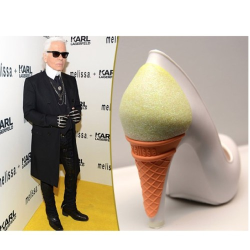 sashacharninmorrison:  Here's the only Kollection I worship: the #Kaiser Karl Lagerfeld's Kollection with Melissa shoes. #Werq! #karl #karllagerfeld #melissashoes #scented #cone #icecreamconeheel #coneheel #evilgenius