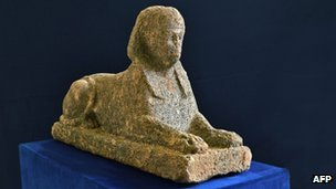 Italian police find stolen Egyptian sphinx BBC: Italian police say they've recovered a stolen 2,000-year-old Egyptian sphinx near Rome. They believe the statue was going to be taken out of the country. The sphinx was found along with other artifacts thought to have been stolen from an Etruscan cemetery. Rome began importing sculptures from Egypt after its conquest of the country in the 1st century BC. Photo credit: AFP