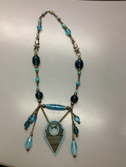 adhara:  Just finished! Blue talhakimt and glass beads on brass with brass Indian links and pieces with a lobster closure. $45  Now available on Etsy!! https://www.etsy.com/listing/126142626/blue-talhakimt-necklace?
