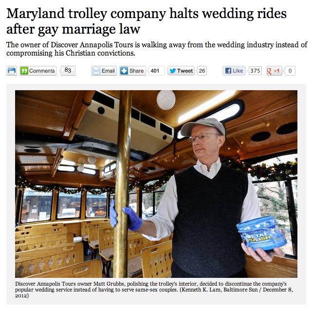 shortformblog:   Today, same-sex marriage is legal in Maryland. (By the way, congrats!) Alas, not everyone's a fan. The guy above, for example, who stopped a popular wedding trolley business that earned him $50,000 per year because he didn't want to have to serve gay couples due to his Christian beliefs.   hahahaha thank you LA times for such a great picture filled with hilarious innuendoes.