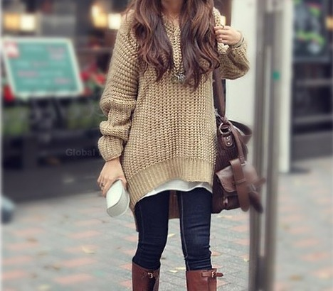 style-maven:  Loose Fitting Hooded Long Sleeve Long Sweater
