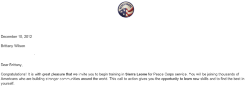 Well it's official guys!! I've been invited to serve in Sierra Leone Africa as a secondary science teacher and leave on June 11th 2013 for staging. It's really happening…eeek!