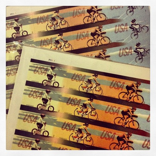 We usually don't send mail but when we do, we only use bicycle stamps. :D