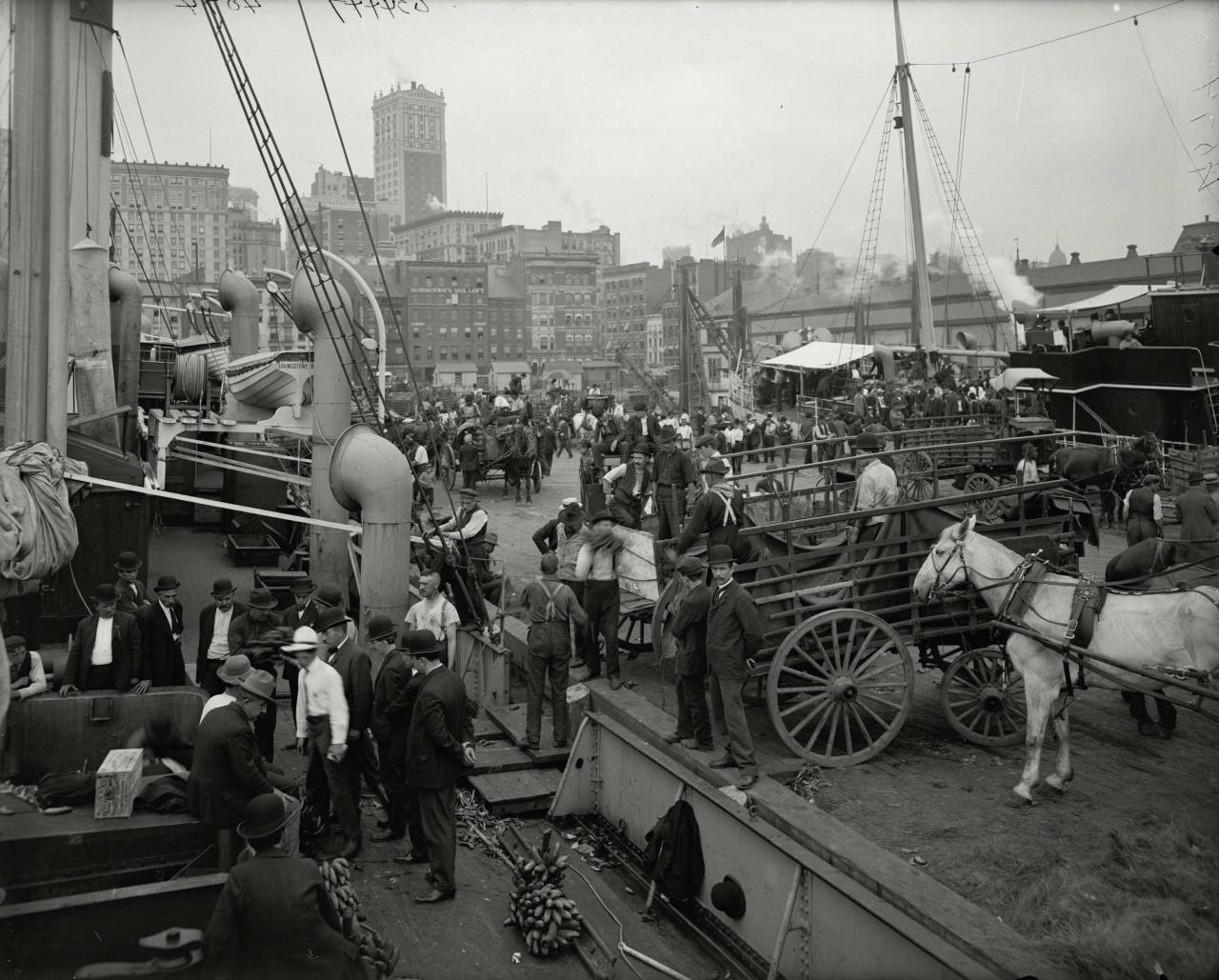 collective-history: Banana docks, New York, ca.1890-1910.