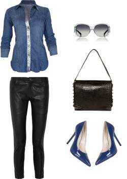 how to rock: denim + leather  BLANK metallic top/ Sara Berman skinny leather pants / KORS Michael Kors / Tory Burch oversized sunglasses  me