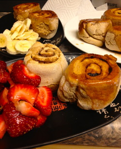 Sunday Dinner, yes dinner -  HH's Whole Wheat Cinnamon Rolls