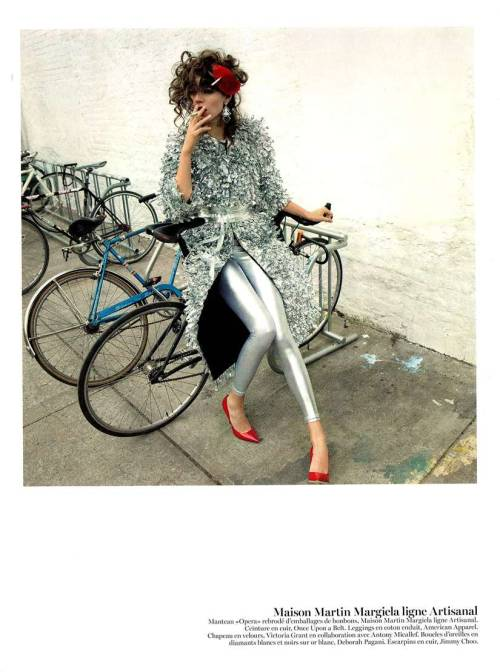 americanapparel:  Vogue France featured the Shiny Lamé Leggings in their May 2013 issue.  Click here to visit our online store and shop this style now!