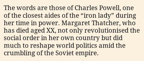 Margaret Thatcher dies, someone doesn't catch the fill-in-the-blank in the pre-packaged Financial Times obit.