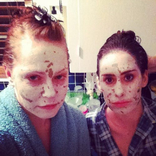 """Why so serious?"" Face & hair masks going on. #itburns"