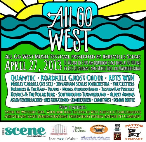 Oh snap, All Go West presented by…Asheville Scene. I remember seeing the big Xpress banner on the main stage when the festival last happened two years ago. The other big change is that the festival is moving even further west, from East West Asheville to Isis in West Asheville proper. Mark your calendars: April 27. Or don't, it's a free country.