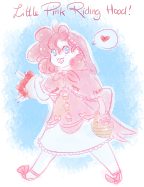 glasworks:  Pinkie Pie as Little Pink Riding hood! She's bringing Granny Pie some tasty muffins because she's sick and lonely.I wonder who the bad bad wolf is?