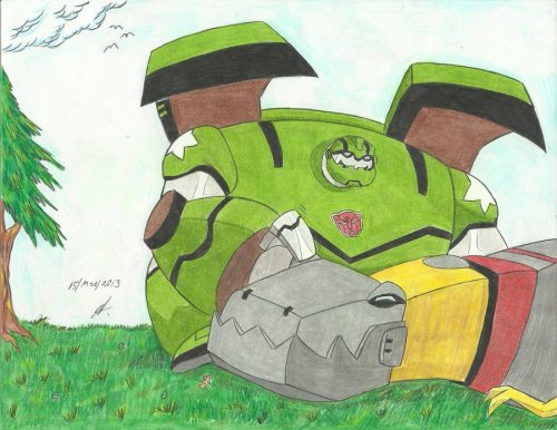 Bulkhead and Grimlock Transformers Animated by Ailgara ADORABLENESS!