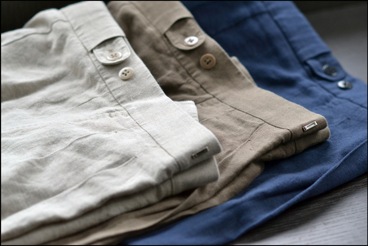 Summer Is Just Around The Corner.  Really. Linen shorts with DAKS-style elastic, adjustable waistbands by Mystery Bespoke Tailor (MBT™.)