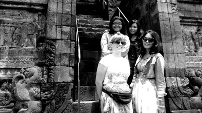on the steps of Borobudur Temple - January, 2013 me, Dana, Mayang, Kea