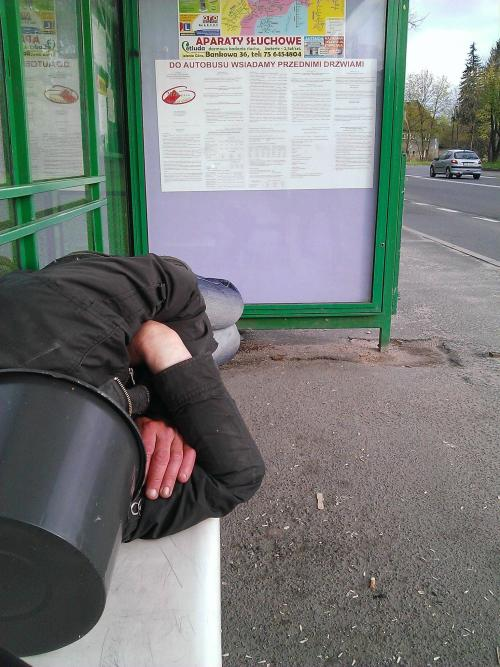 pleatedjeans:  he said to knock when the bus got there. via  Poland :)