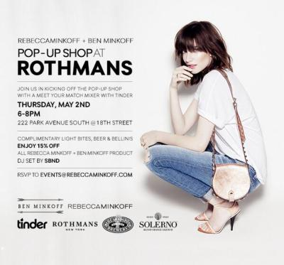 Stop by the Ben Minkoff pop-up shop and Tinder mixer at Rothman's this Thursday, May 2nd, from 6-8pm. What better way to spend a Thursday night than with good music, free beer, and great bags?