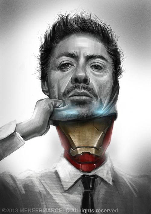 "timetravelandrocketpoweredapes:   IRON MAN by koinoi ""Does the man make the suit or does the suit make the man?"""