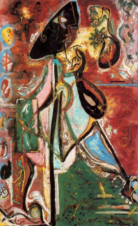 darksilenceinsuburbia:  Jackson Pollock. Moon Woman, 1942.  Via