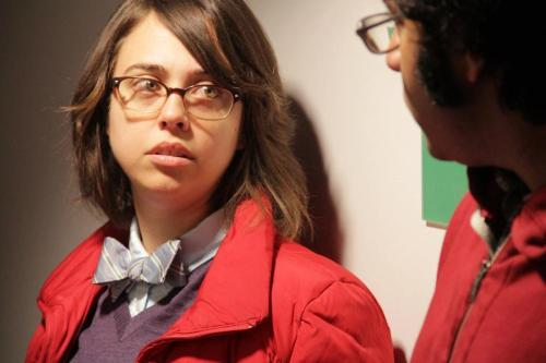 courtingcomedy:  Janine Brito and Hari Kondabolu on the set of Totally Biased with W. Kamau Bell by Alex Thorton.   Hey! It's me and Hari!