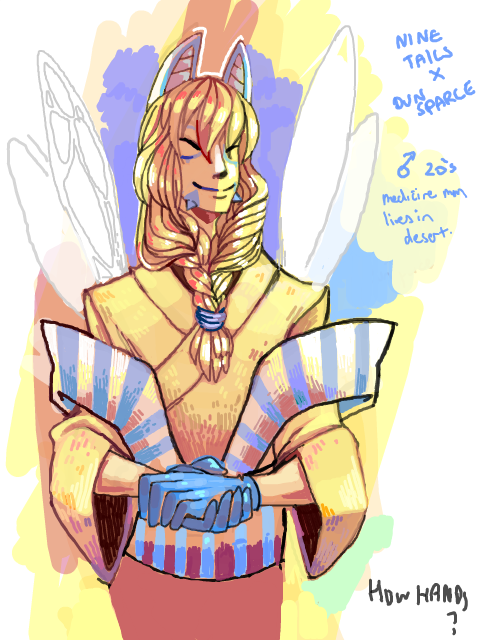 23deadbatteries:  Gijinka of a cross between Dunsparce and Ninetails based on this sprite:  im sorry i can't remember who the original maker of the sprite was! If you know could you tell me so i can credit them? Thankyou