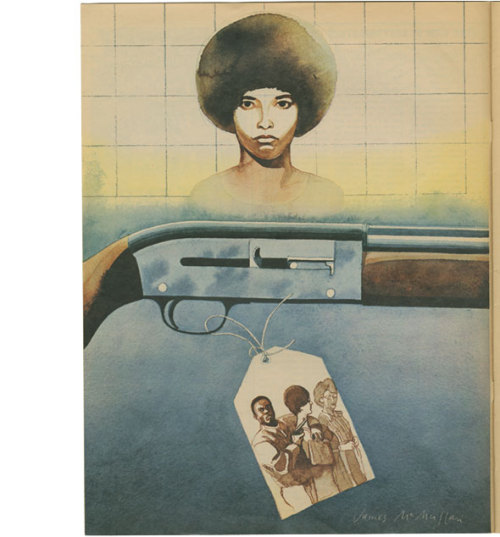 blackcontemporaryart:  James McMullan Angela Davis illustration for West Magazine, 1971.
