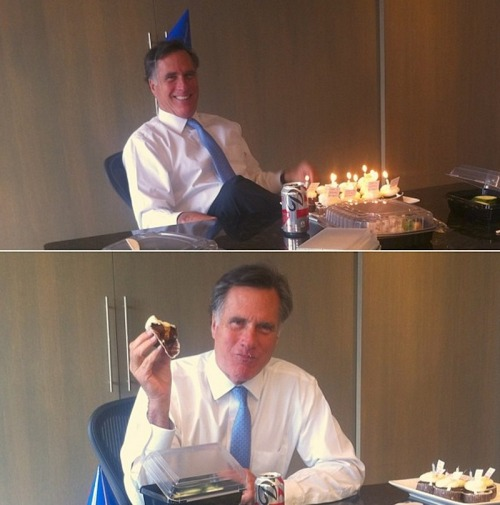 Top: Mitt Romney celebrates his 66th birthday with a cupcake. Bottom: This was not Mitt Romney in a funk back in December.  (son Tagg took the top cupcake pics)