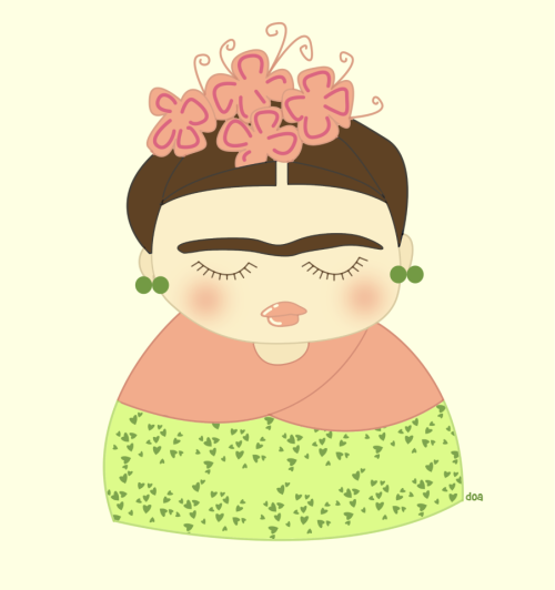 My work: Frida and her flowers. http://www.facebook.com/DoaDesign